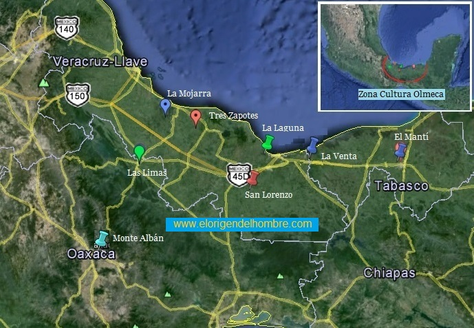 mapa cultura olmeca